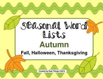 Fall Word Lists-Thanksgiving, Fall, Halloween
