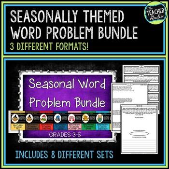 Seasonal Word Problem Bundle!  Grades 3-5