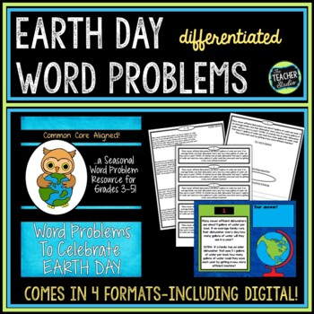 Seasonal Word Problem Collection: Earth Day Grade 4-5