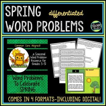 Seasonal Word Problem Collection: Spring! Grade 3-5