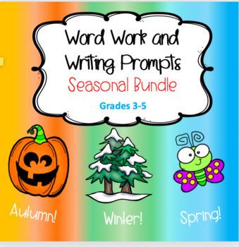 Seasonal Word Work and Writing Task Cards - BUNDLE