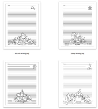 Four Seasons Writing Pages Bundle Coloring Sheet Earth Science Activity & Poem