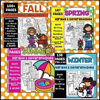 Kindergarten Writing Math Phonics Activities Year Long Bundle