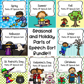 Seasonal and Holiday Parts of Speech Literacy Activity Bundle!!