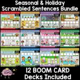 Seasonal and Holiday Scrambled Sentences BOOM CARD Bundle