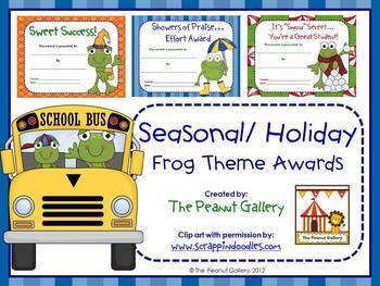Seasonal/Holiday Frog Theme Awards
