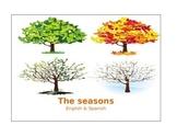 Seasons Chart for writing English & Spanish