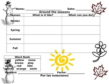 Seasons Chart for writing English & Spanish
