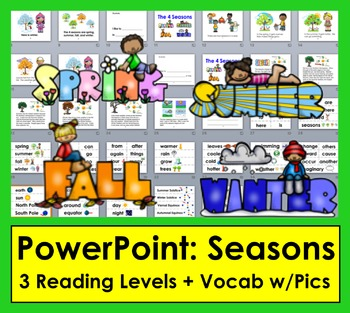Seasons PowerPoint Presentation with 3 Reading Levels + Illustrated Vocabulary