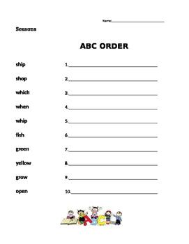 Seasons - Journeys 1st Grade- ABC Order