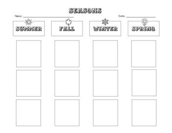 SEASONS Activities - Flip Book - Foldable - Sort