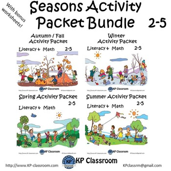 Seasons Activity Packet Bundle 2 through 5 for Autumn Winter Spring and Summer