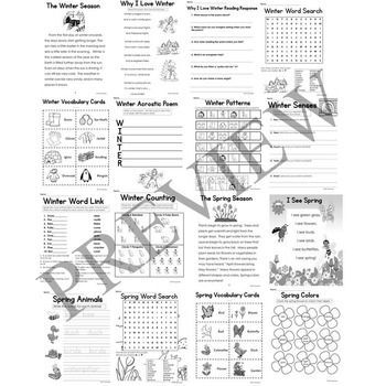 Seasons Activity Packet Bundle K and 1 for Autumn Winter Spring and Summer