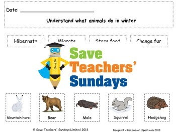 Seasons - Animals adaptations in winter Lesson plan, Text and Worksheet