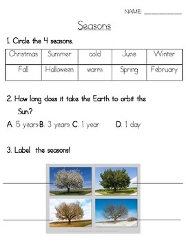 Seasons Assessment