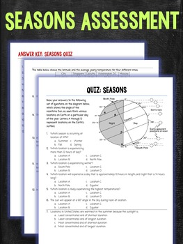 Seasons Assessment Quiz