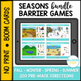Seasons Barrier Games Bundle BOOM Cards™️ Speech Therapy Distance Learning