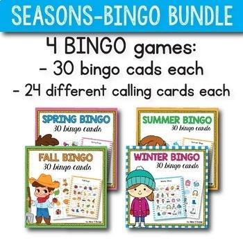Seasons Bingo Game BUNDLE, Winter Bingo, Spring Bingo