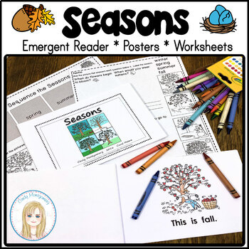 Seasons Blackline Emergent Reader with Full Page Color Seasons Posters