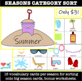 Seasons Category Sort with Vocabulary Cards and Worksheets