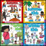 Seasons Clip Art  BUNDLE | Clipart Kids for Summer, Autumn, Winter, Spring