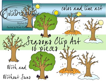 Seasons Clip Art - Color and Line Art 16 pc set