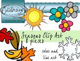 Seasons Clip Art - Color and Line Art 8 pc set