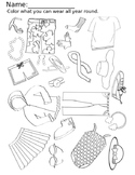 Seasons Clothing iSPY Coloring Worksheet Pack