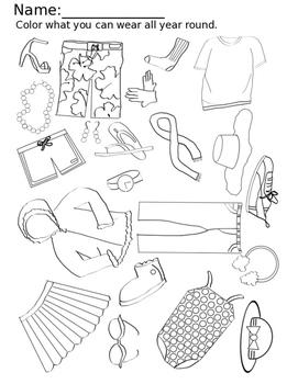 Seasons Clothing iSPY Coloring Worksheet Pack