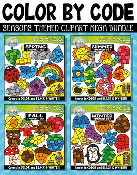 Seasons Color By Code Shapes Clipart Mega Bundle {Zip-A-Dee-Doo-Dah Designs}
