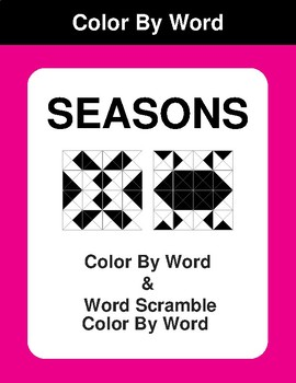 Seasons - Color By Word & Color By Word Scramble Worksheets