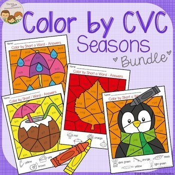 Seasons Color by CVC Word Bundle - Autumn, Winter, Spring, Summer