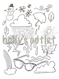 Seasons Coloring Page Clipart Editable Page Weather Fall Winter Spring Summer