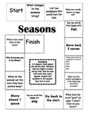 """Seasons"" Comprehension Game Board- Journeys story 1st grade"