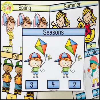 Seasons Count and Clip Task Cards