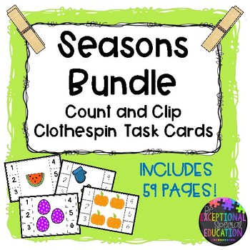 Seasons Count and Clip Clothespin Task Cards
