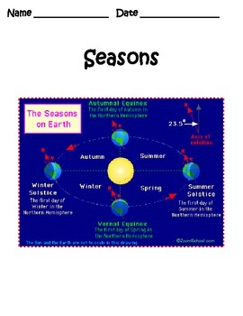 Seasons - Day and Night Study Guide 4th Grade Science