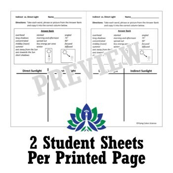 Seasons: Direct/Indirect Light Worksheet Activity Middle School NGSS MS-ESS1-1