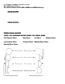 Seasons, Eclipse and Moon Phase Review Worksheet