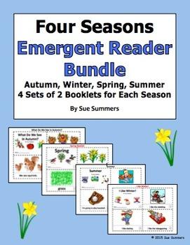 Seasons Emergent Reader Booklet Bundle ENGLISH - 4 Sets of 2 Booklets