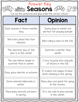 Seasons Fact and Opinion Sort