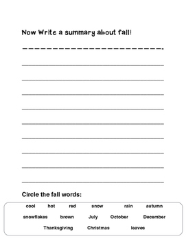 Seasons: Fall Writing Pages (1st - 3rd)