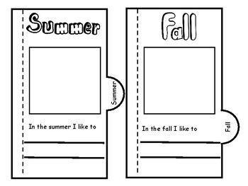 Seasons Foldable for interactive notebook - English