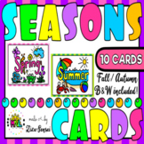 Seasons Four Seasons Fall Autumn Flashcards B&W Included Set 1