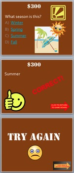 Seasons Game:  Know your Seasons!  Fun Stuff