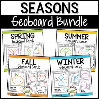 Seasons Geoboard Cards BUNDLE: Shape Activity for Pre-K Math