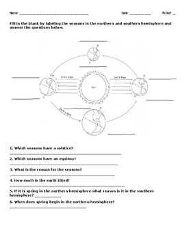 Seasons Graphic Organizer and Questions