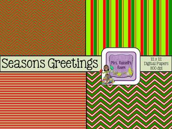 Seasons Greetings {4- 12 x 12 Digital Papers for Commercial Use}