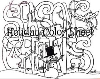 Christmas Winter Holiday Seasons Greetings Color Sheet