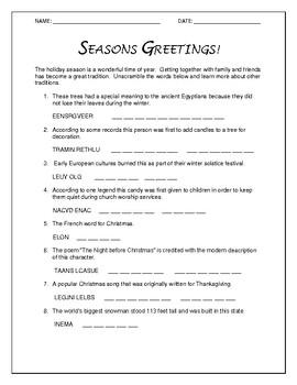 Seasons Greetings Word Scramble